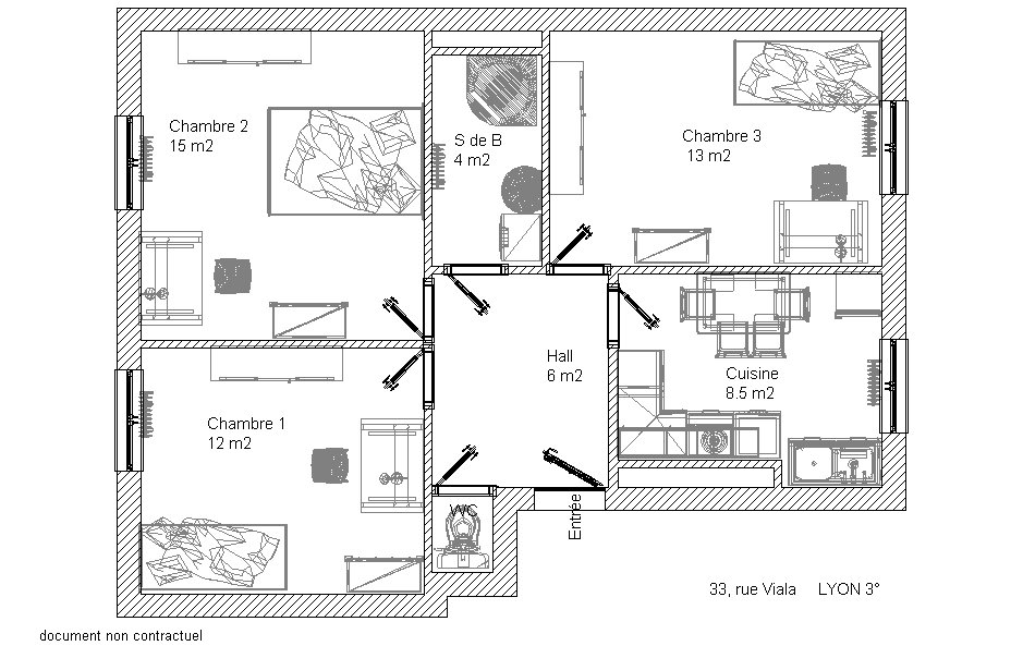plan appartement colocation